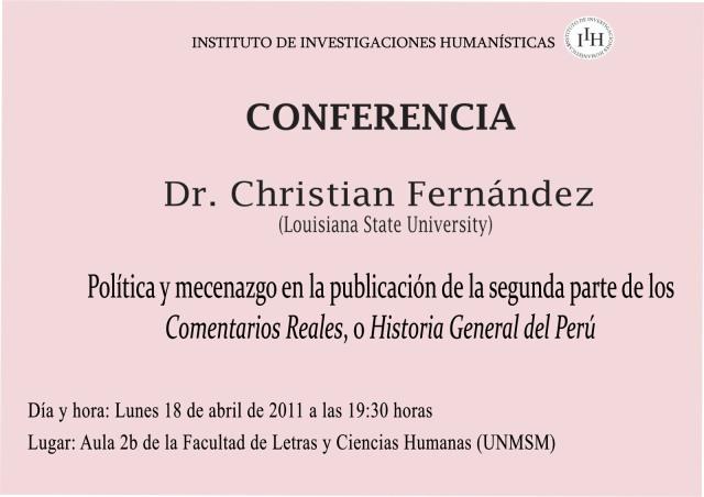 CONFERENCIA DEL DR. CHRISTIAN FERNÁNDEZ EN SAN MARCOS-LUNES 18 DE ABRIL DE 2011
